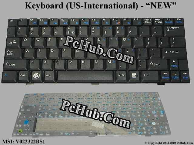 Msi Wind U100 Ms N011 Keyboard V022322bs1 S1n 1uus2d1 Sa0