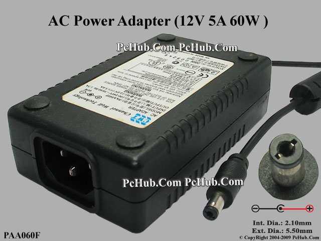12V 5A, Barrel 5.5/2.1mm, IEC C14