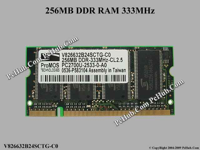 256MB DDR 333MHz - CL2.5, SO DIMM